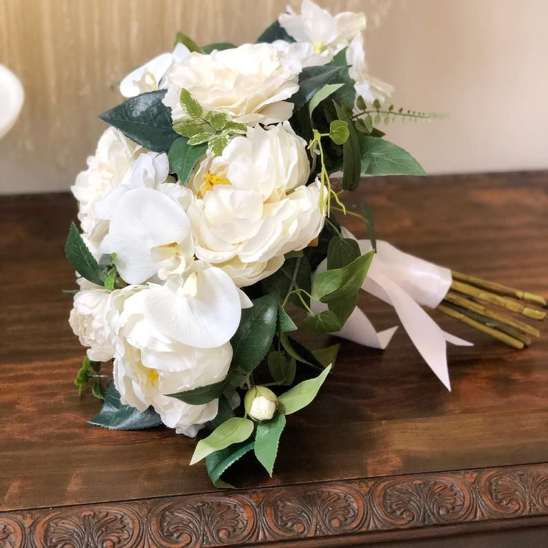 READY TO SHIP - Deluxe White Bridal Bouquet with Floral Comb and Boutonnière - Faux White Bridal Bouquet - Destination Wedding Bouquet #whitebridalbouquets