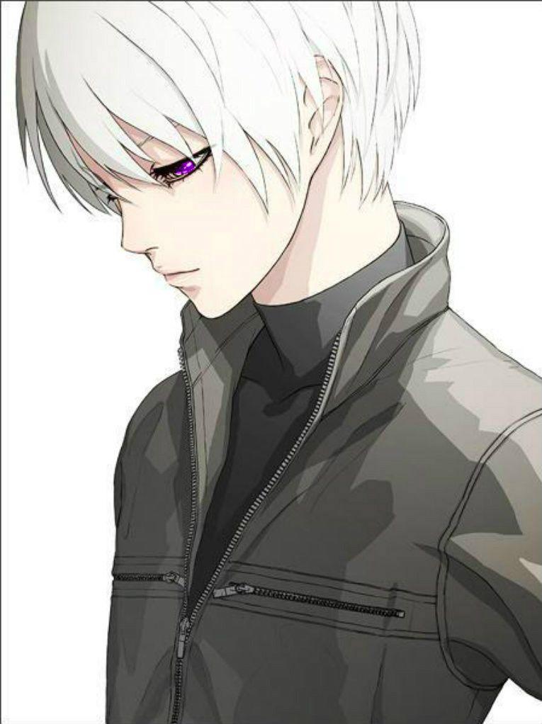 Purple Eye Cool Anime Guys Anime Boy With White Hair