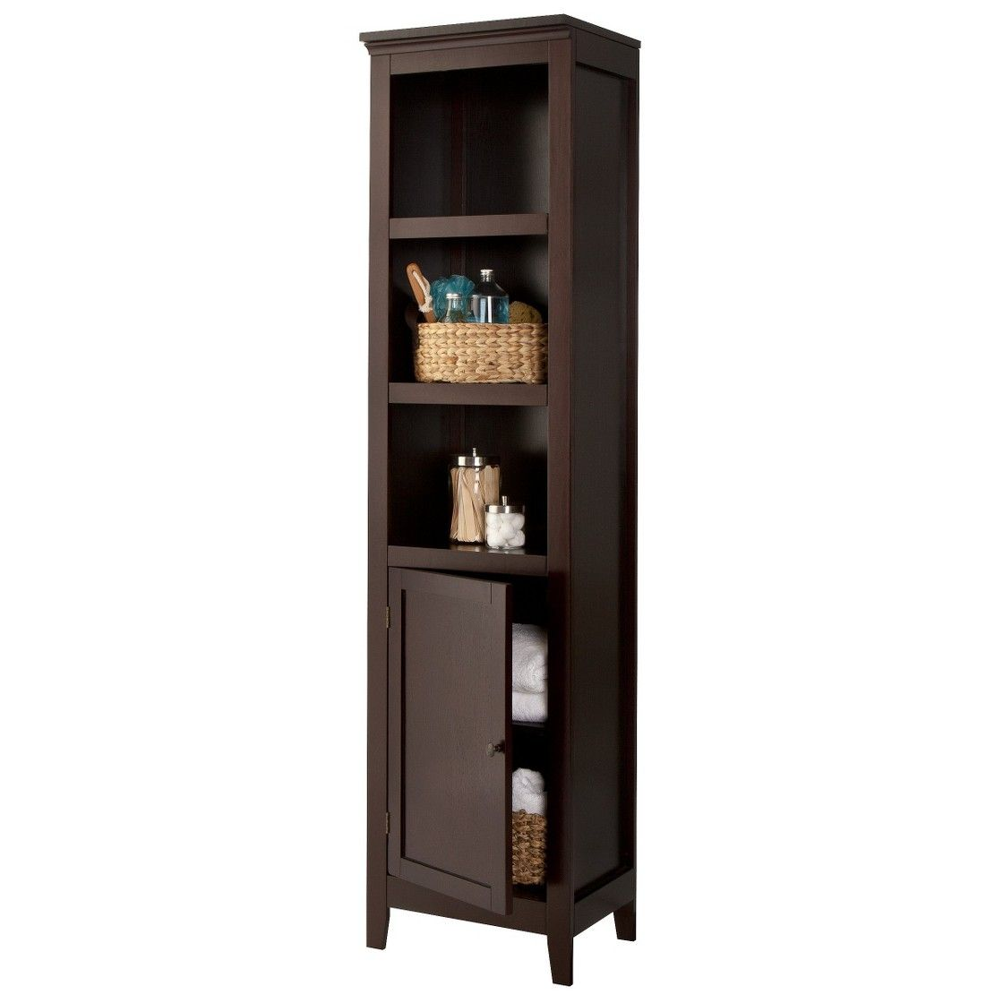 Threshold Carson Narrow Bookcase with Storage | Bookcase ...