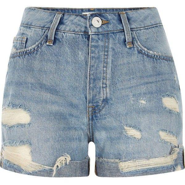 River Island Mid blue wash ripped boyfriend denim shorts (155 TND ...