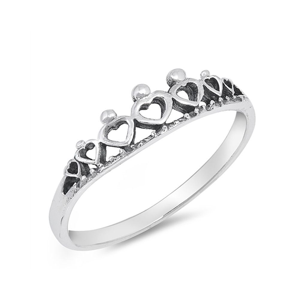 Crown band ring heart crown simple plain sterling silver