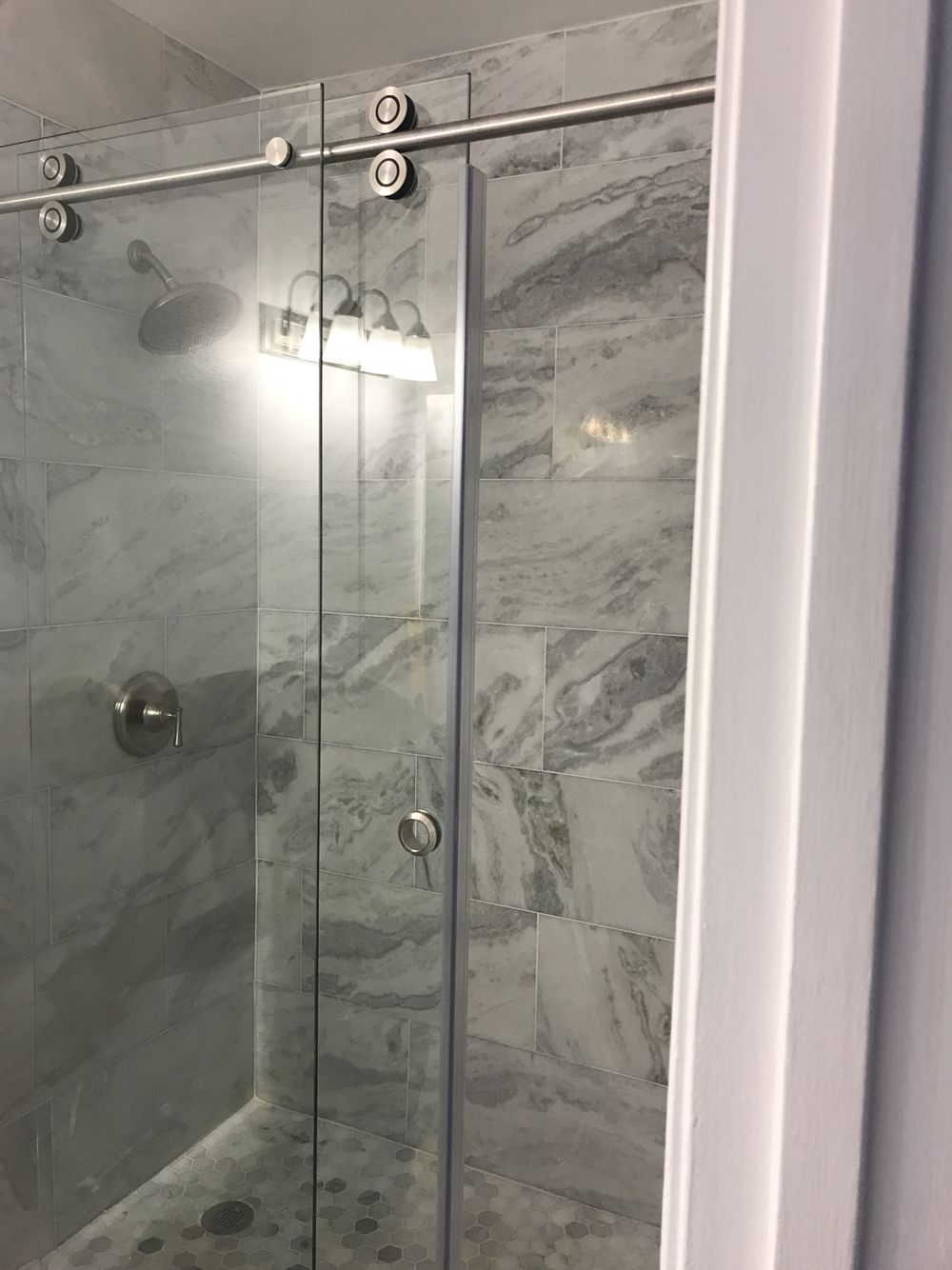 My bathroom in progress sahara carrara marble tile wall tile and my bathroom in progress sahara carrara marble tile wall tile and bathroom floor and carrara white hexagon marble mosaic shower floor tile dailygadgetfo Images