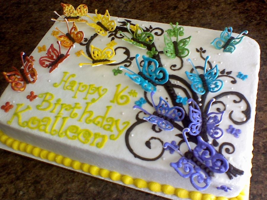 for a sweet sixteen b-day, BC icing and RI butterflies | Baked or ...
