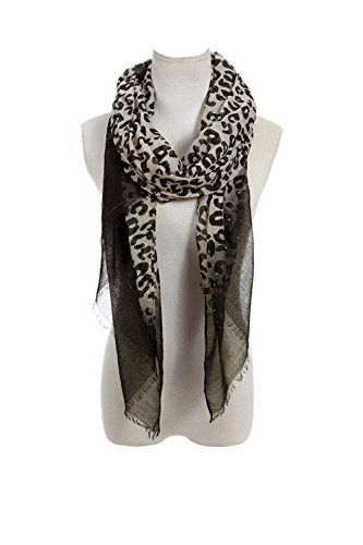 Lucky Leaf Women Long Soft Lightweight Leopard Printed Scarf Shawls Wraps  With Rhinestone (Leopard) -- Want to know more 8aaf4ddc5