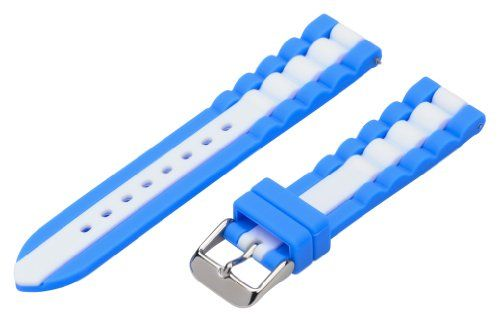 Toscana 22mm Premium 2 Piece Ss Silicone Striped Royal Blue   White  Interchangeable Replacement Watch Band Strap 034441dfcea8