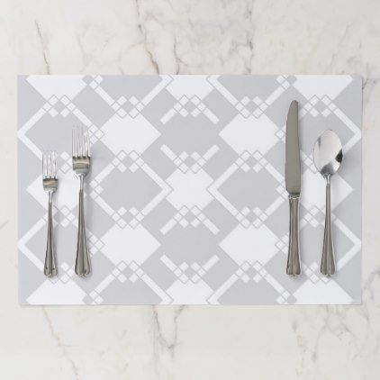Abstract geometric pattern - gray and white paper placemat