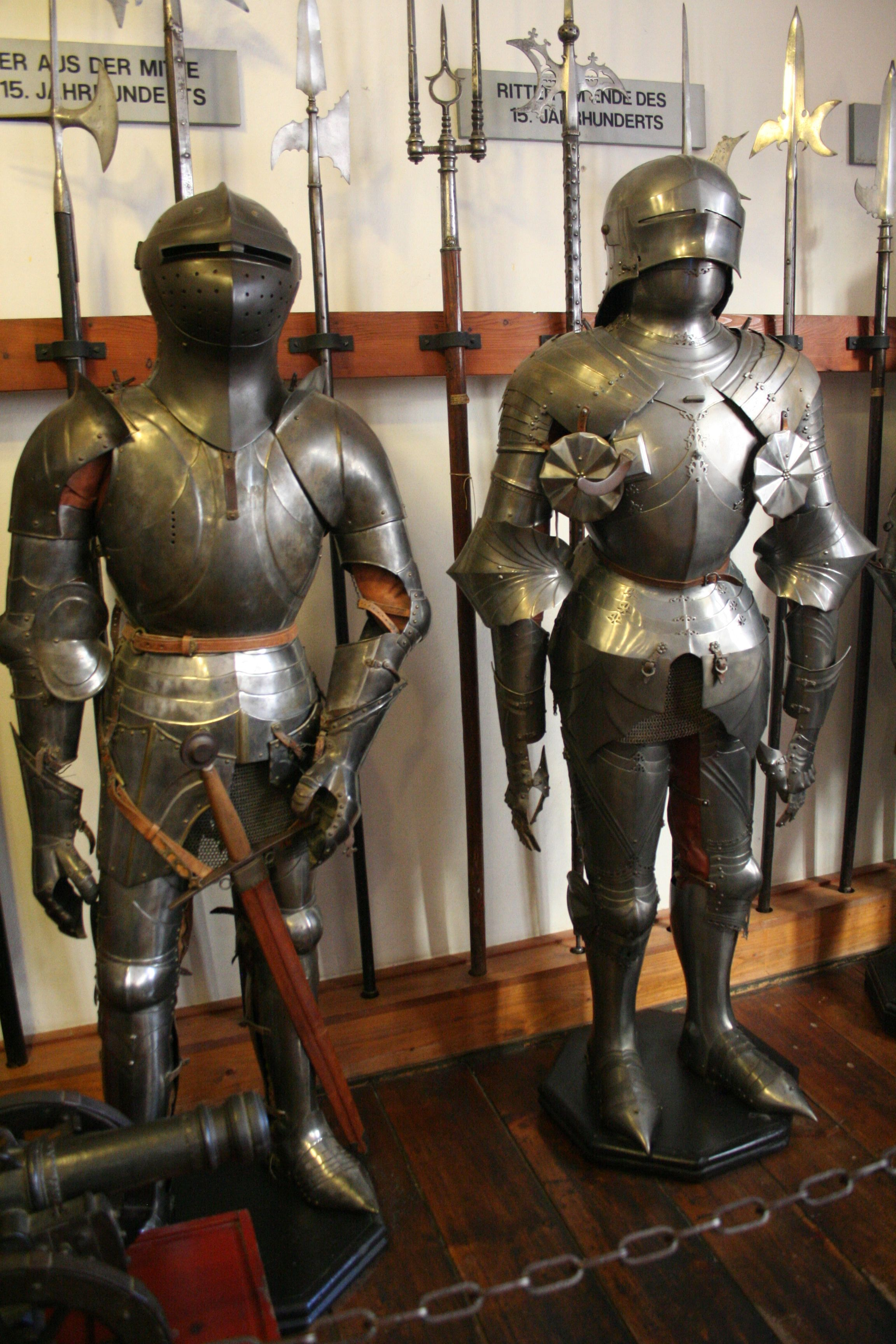 Suits of armor on display at Marksburg Castle | Knight in ...