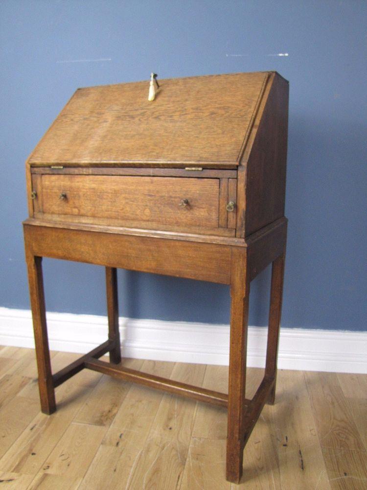 Small English Cotswold Style Oak Bureau Writing Desk C1912 With