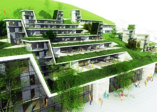 Terrace Building Design green roofed hillside homes blend into their environs | beautiful