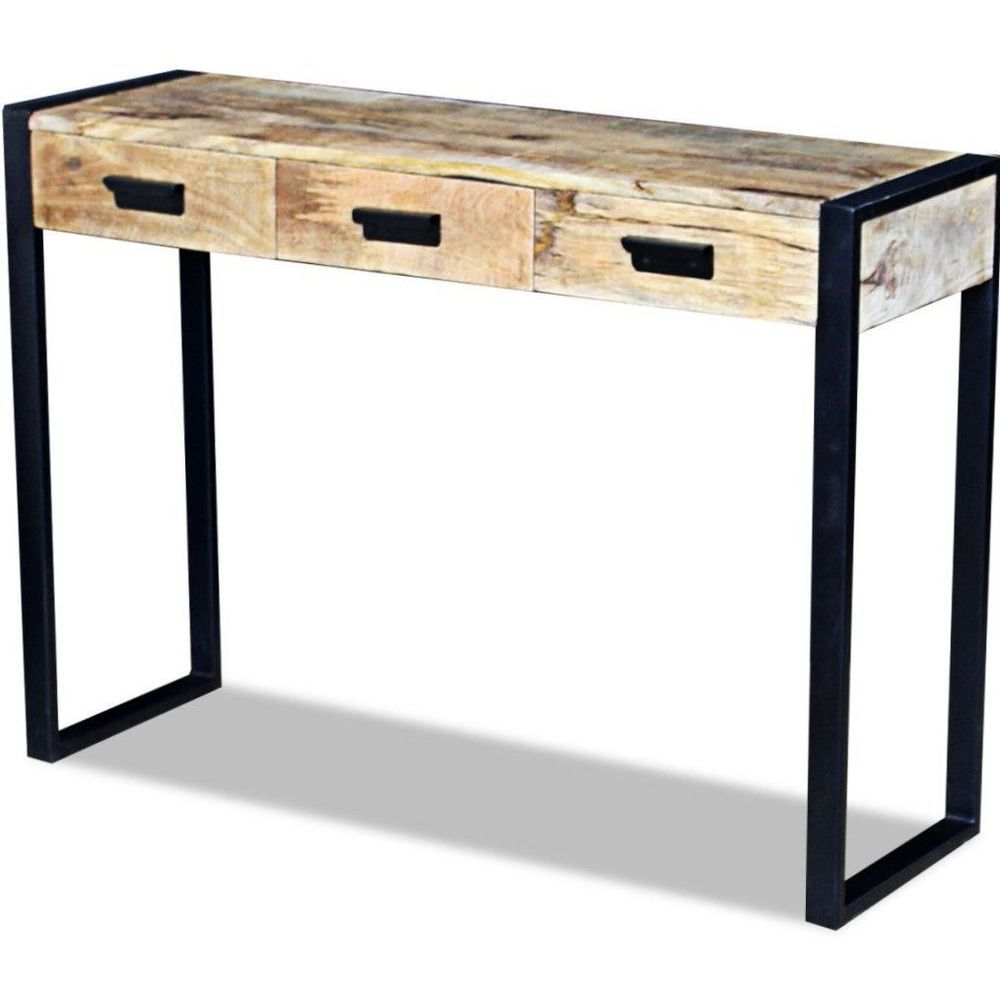 Console Table Sideboard Vintage Solid Wood Iron Legs 3 Drawers Hall