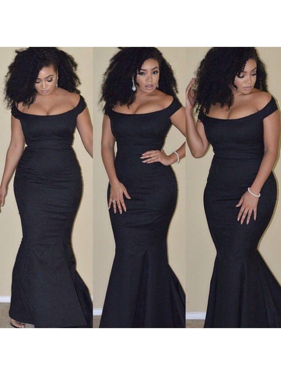 1c9cc8f76b0 Mermaid Off-the-Shoulder Long Black Prom Formal Evening Party Dresses  99602925