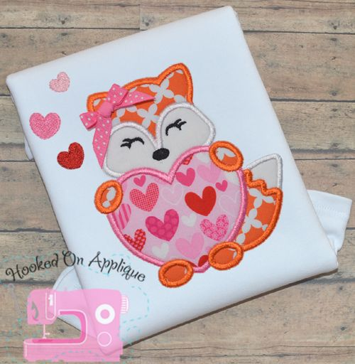 Fox Heart Girl Valentine S Day Applique Design From Hooked On