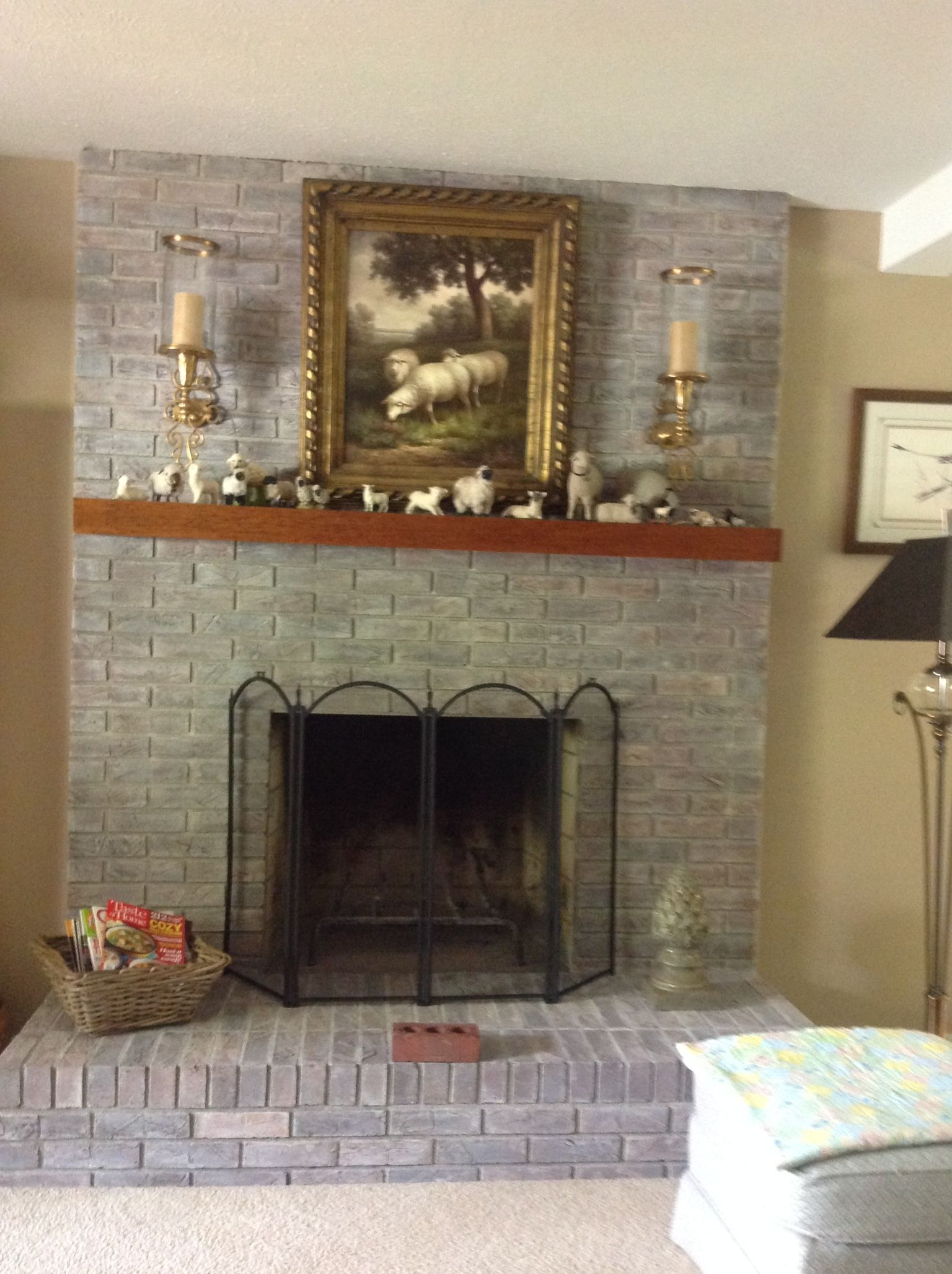 The fireplace immediately after being whitewashed Notice the old