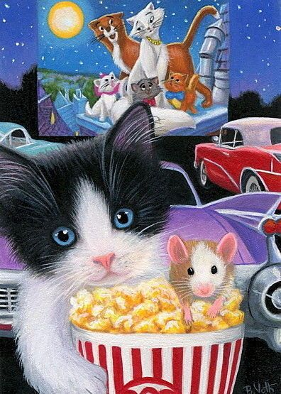 Tuxedo Kitten Cat Mouse Drive In Movie Aristocats Cars Oe Aceo Print Art Cat Painting Cat Mouse Tuxedo Kitten