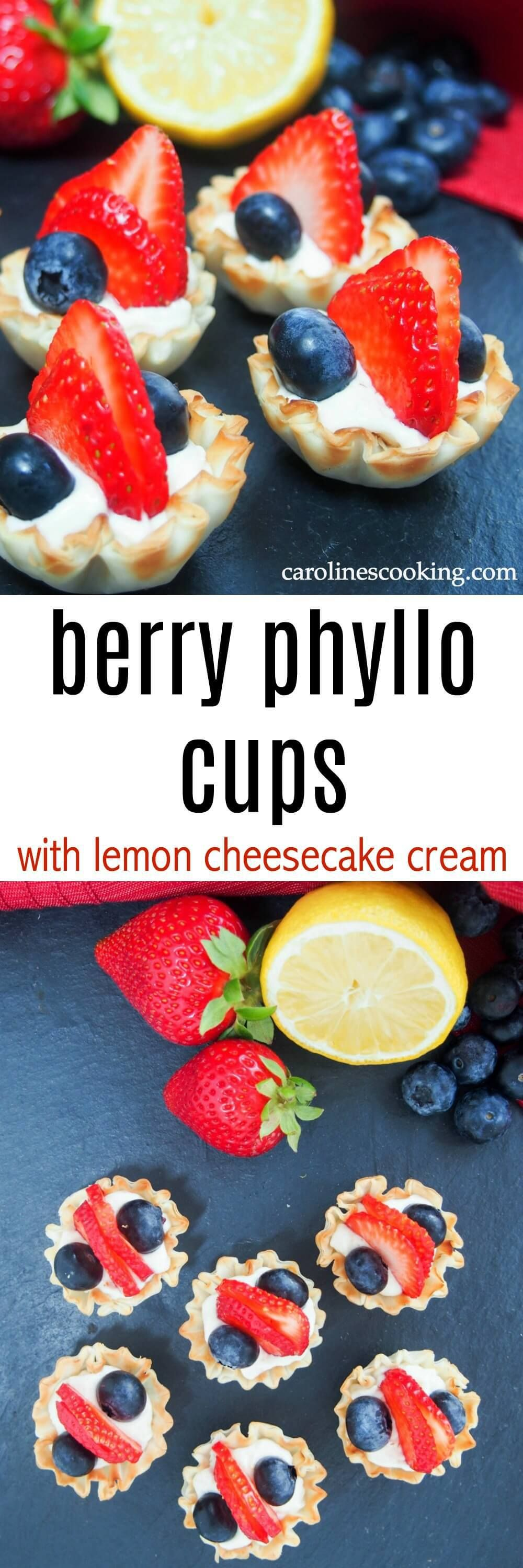 These berry phyllo cups with lemon cheesecake cream take only a few minutes to p… appetierz capre