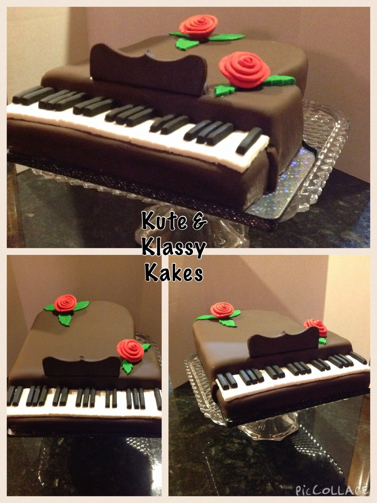 Baby Grand Piano Cake covered in chocolate fondant. By ...