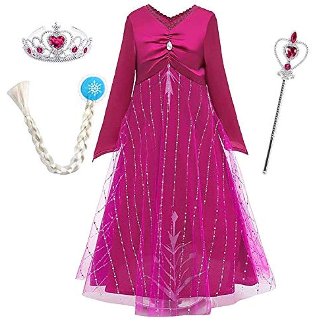 Ragazze Principessa abiti partito Vestito Costume ELSA ANNA 3-4 anni