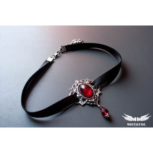 Gothic choker with Red Stone Metal Choker Victorian Gothic Jewelry ( 32) ❤  liked on Polyvore featuring jewelry d285f5eec0a
