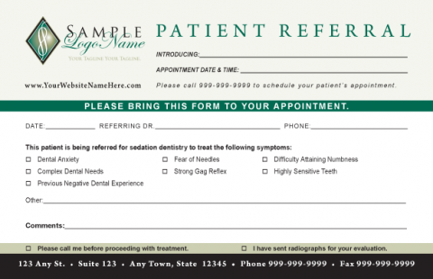 Sedation Dentistry Referral Pad  Referral    Dentistry