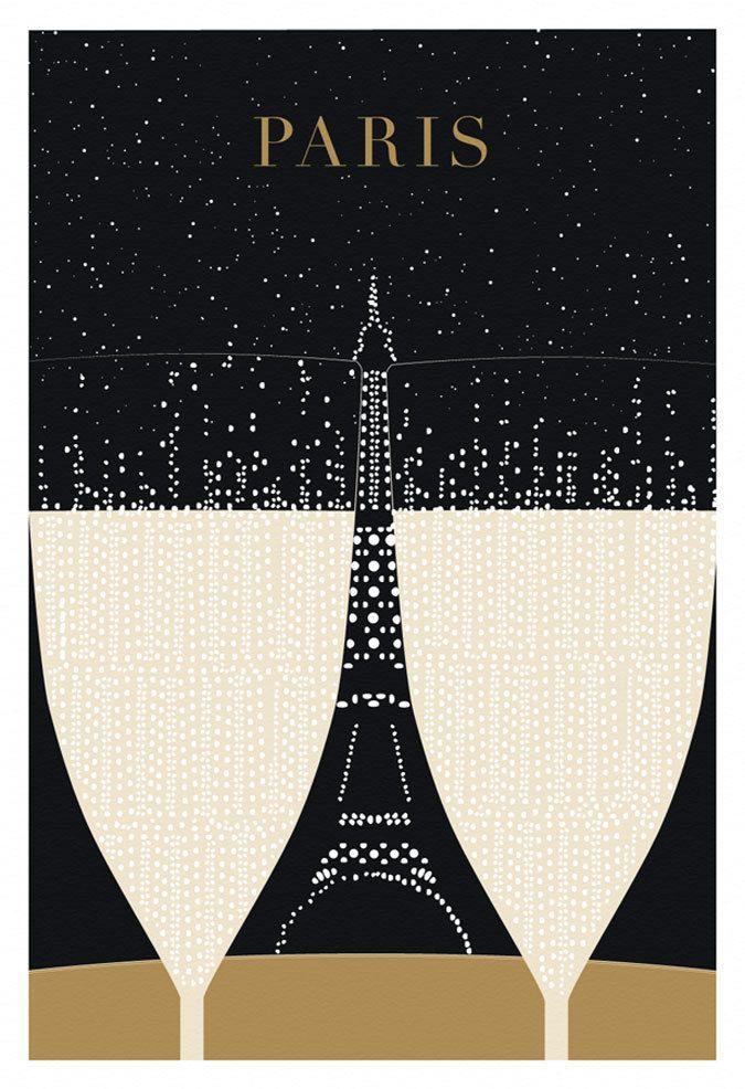 paris eiffel tower poster print original illustration art print black and gold paris. Black Bedroom Furniture Sets. Home Design Ideas