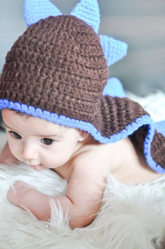 Baby Newborn Dinosaur Hat Beanie Photo Prop Photography Brown Blue ...