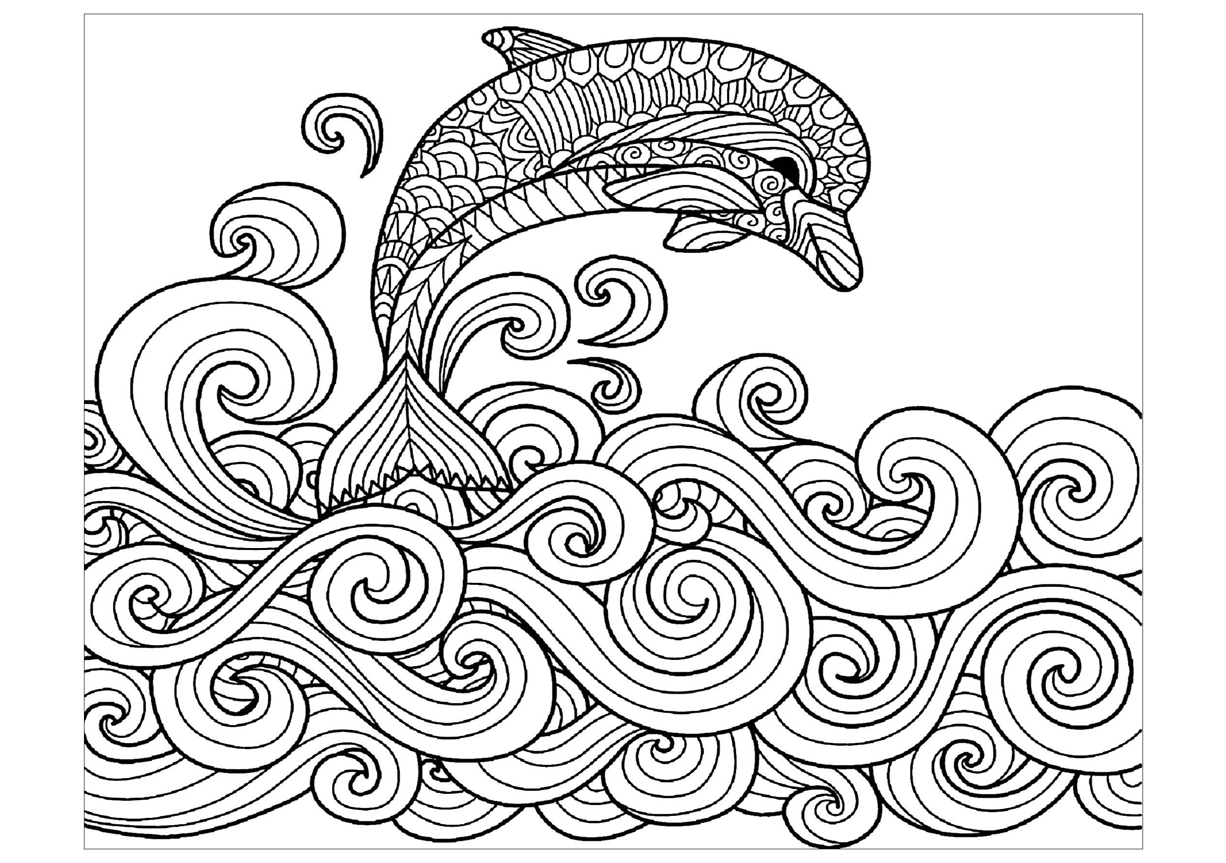 Bottlenose dolphins coloring page | Free Printable Coloring Pages | 1759x2497