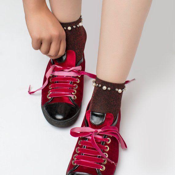 1fffaf580 Red Glitter Lurex Socks for Women Fuzzy Socks Aesthetic