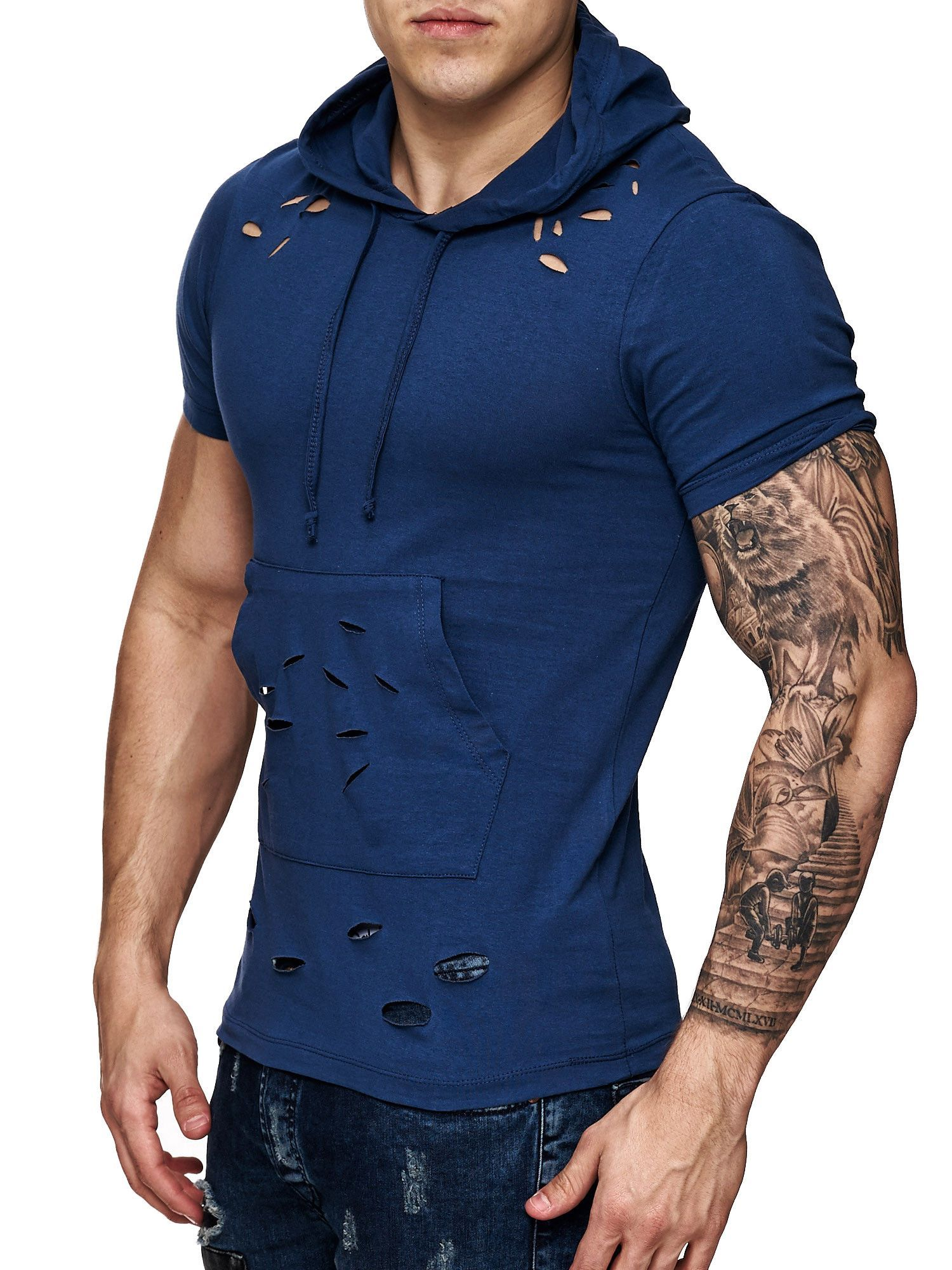 Nice Slim Fit Muscle Fitted Ripped Hooded T Shirt