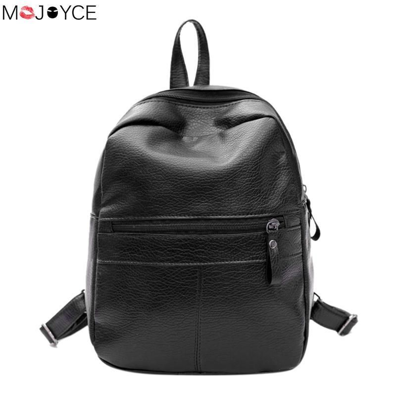 New Travel Backpack Korean Women Female Rucksack Leisure Student School bag  Soft PU Leather Women Bag bolsa feminina ce47933df44b3