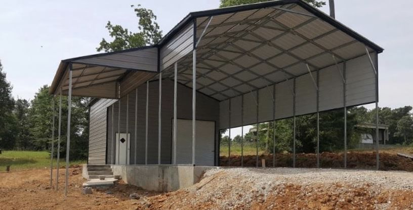 24' x 50' x 12' Vertical Roof with 24' x 10' enclosed and