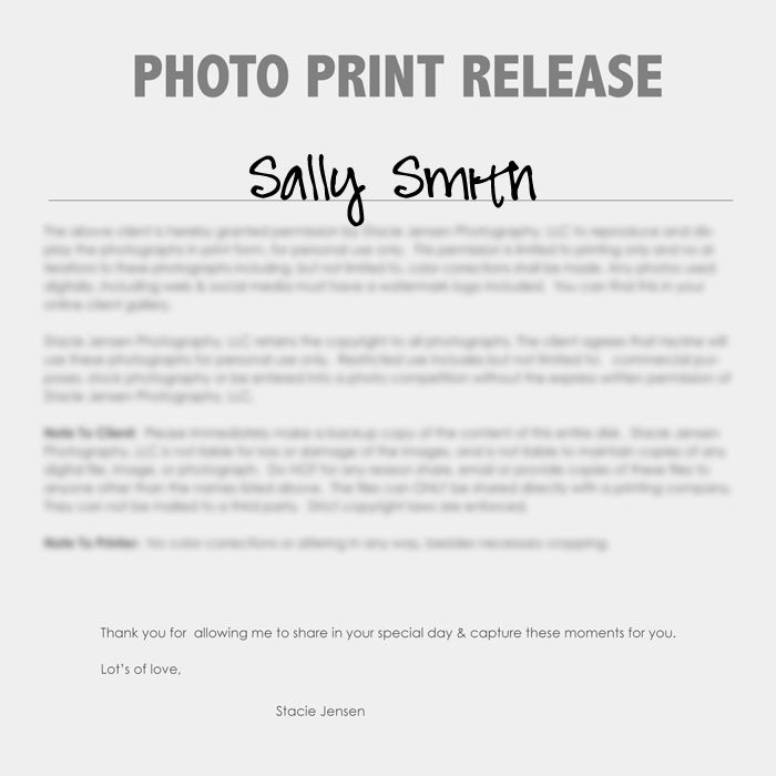 Print Release Forms - Very necessary for any photographer - print release form