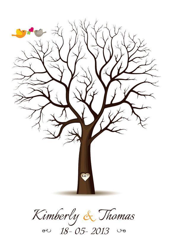 Family tree Fingerprint tree with swing guestbook alternative Thumbprint guest book wedding tree poster Digital file Reunion keepsake