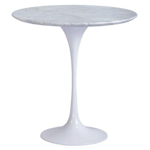 White 20 Inch Saarinen Tulip Table White Marble Table