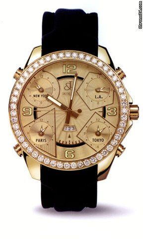 Jacob & Co. . Unisex Watch JC10-2 $27,302 #Jacob #watch #watches 18kt yellow gold case with a leather bracelet. Diamond accent (5.00 ct) bezel.