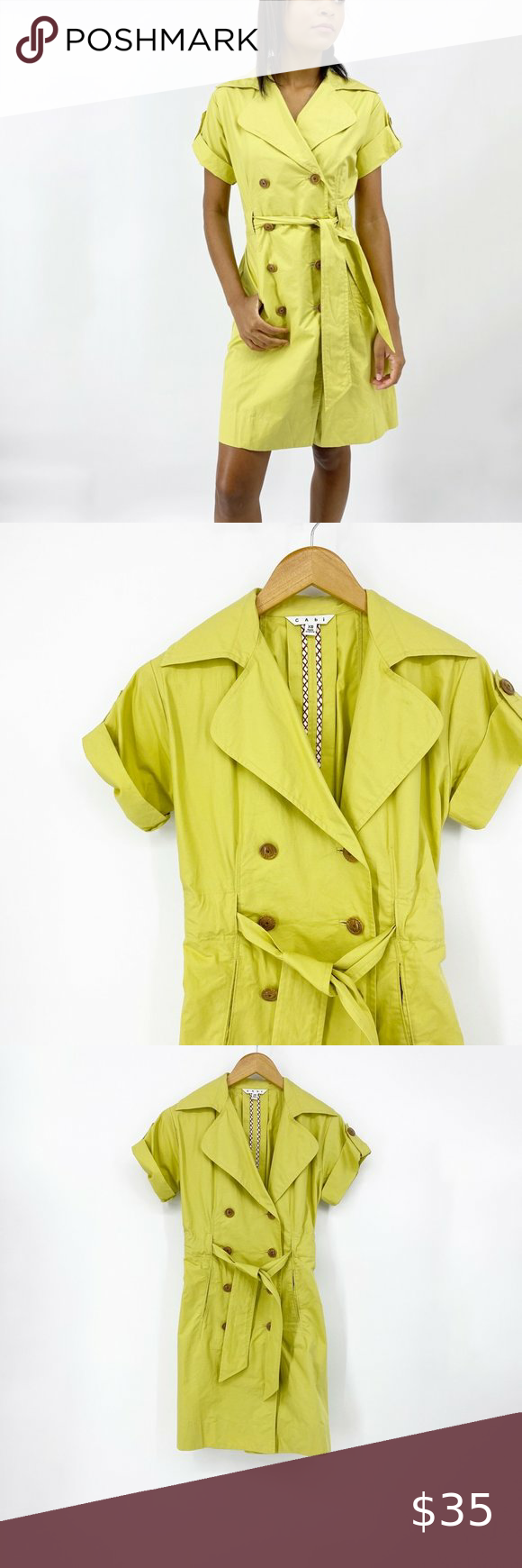 Cabi Safari Trench Coat Dress Loquat Green Size Xs Trench Coat Dress Coat Dress Trench Coat [ 1740 x 580 Pixel ]
