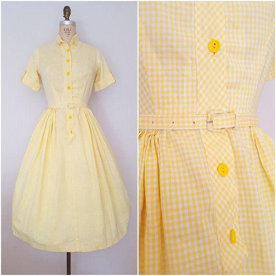 Vintage 1950s Dress / Yellow Checks / Cotton Day Dress / Shirtwaist / Gingham / XS