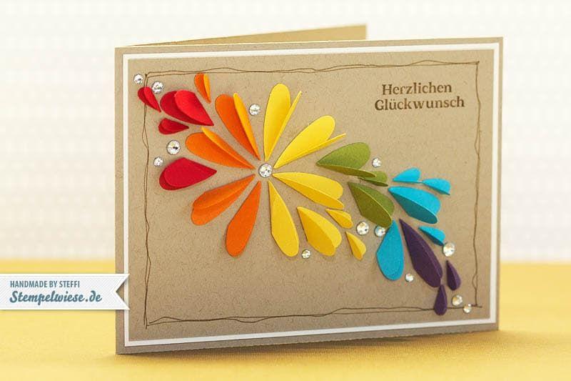 Geburtstagskarte in Farbe und Bunt Stempelwiese • Da euch ja die gestrigen Geburtstagskarte mit der Herz an Herz Stanze so gut gefallen hat, habe ich noch eine Version für euch. Regenbogenfarben gehen ja i