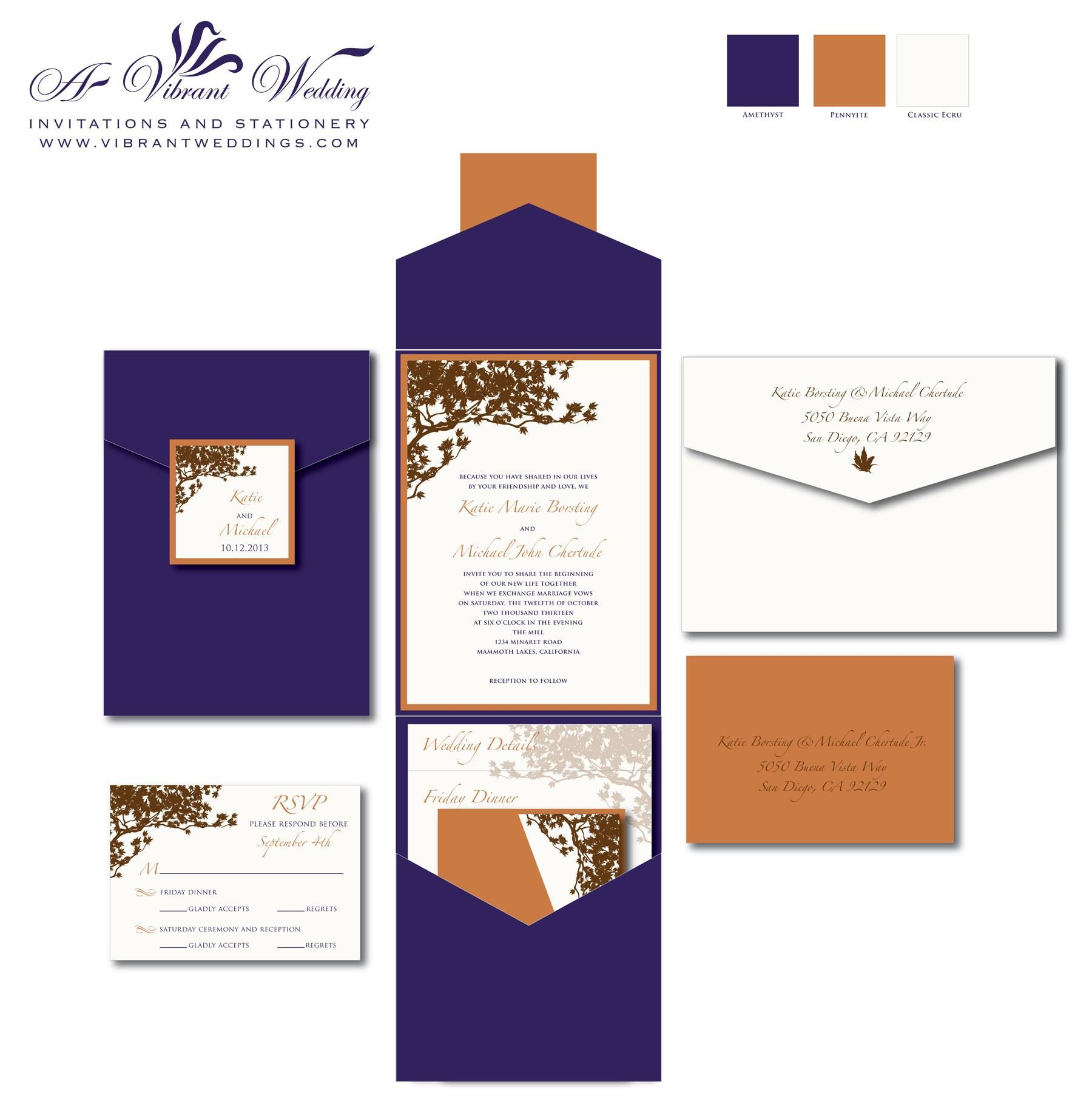 Purple And Orange Wedding Invitation Pocketfold Fall Theme With Tree Branch Design