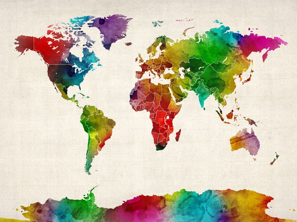 World Map Watercolor. Would be a cool tattoo, but different colors ...
