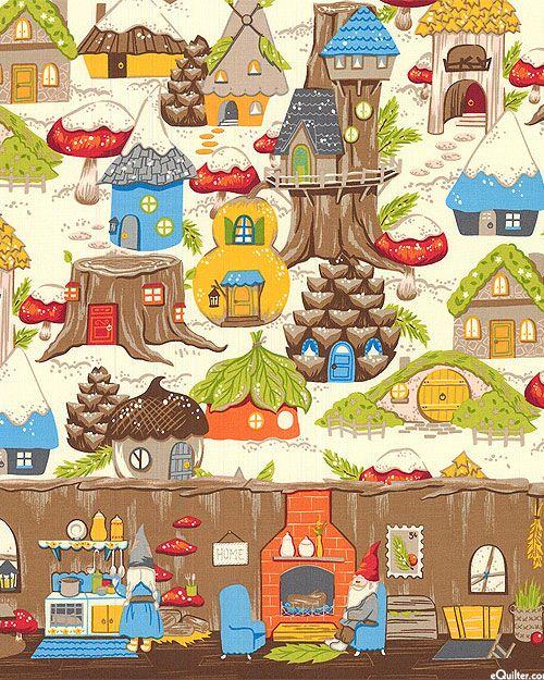 Christmas Time Gnome Avenue Border Stripe Quilt