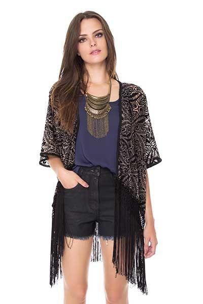 f9e7256f6 dica de kimono | Looks da Moda | Kimono feminino, Looks góticos femininos e  Blusas de veludo molhado