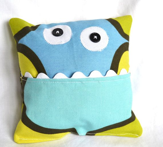 Tooth Fairy Monster Pillow Blue Green Geometric