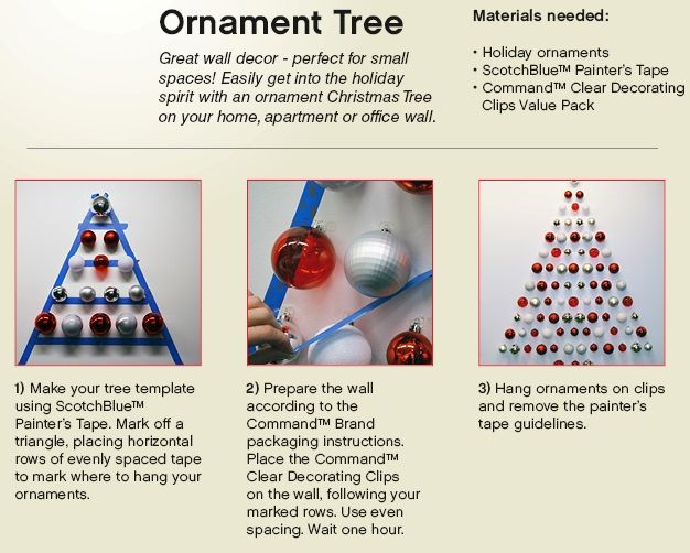 Make A Christmas Tree On Your Wall Hang Your Ornaments On The Wall And Keep Them Safe From Your Cats Christmas Ornaments Christmas Deco Tree Ornaments