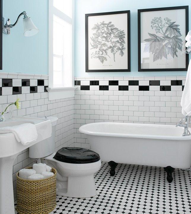 Le Style Vintage En Cinq Pieces De La Maison Deco Salle De Bain Carrelage Noir Et Blanc