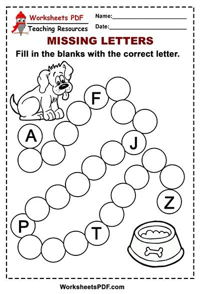 Free Printable Dog Alphabet - Missing Letters in 2020