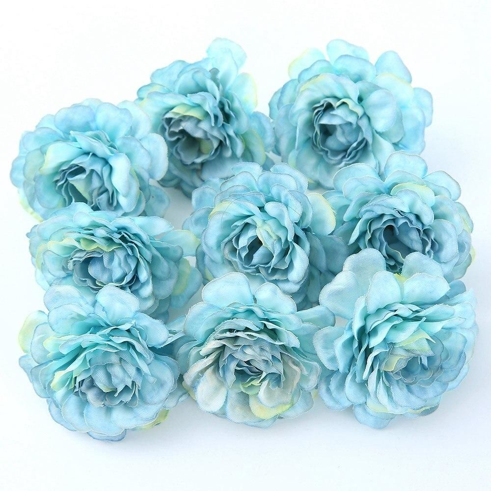 Photo of 10pcs/lot Artificial Flowers Silk Rose Head Wedding Decorations For Home Bride Bouquet DIY Headdress Garland Fake Flower Newyear – Blue