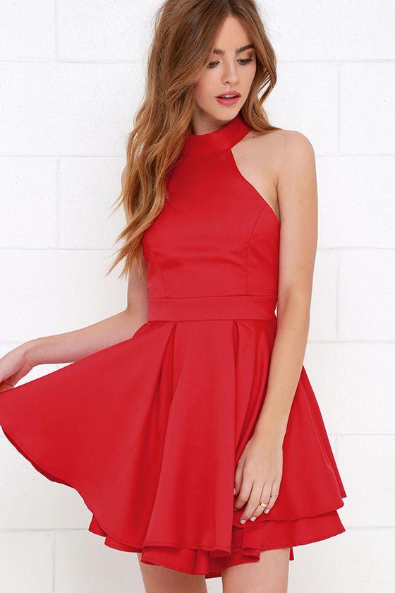 52bf6242379 Cute Red Dress - Skater Dress - Backless Dress -  59.00