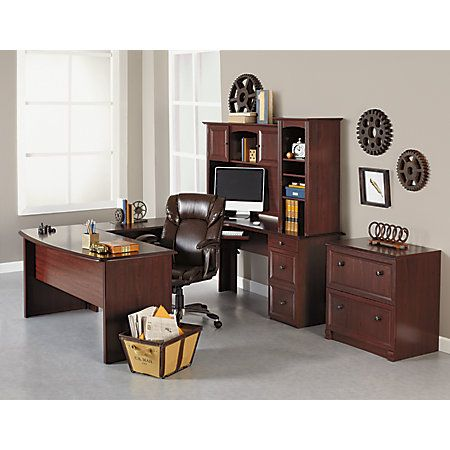 Realspace Broadstreet Contoured U Shaped Desk 30 H X 65 W X 28 D Desk With  92 L Connecting BridgeShell Cherry By Office Depot U0026 OfficeMax