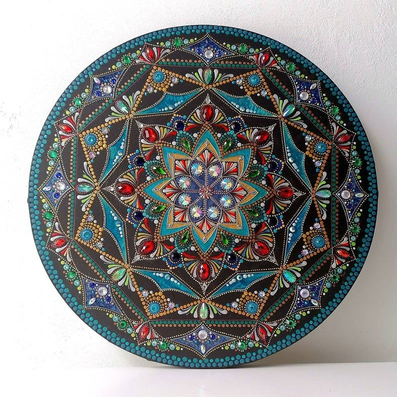 bejeweled maze 40cm mixed media mandala  etsy in 2020
