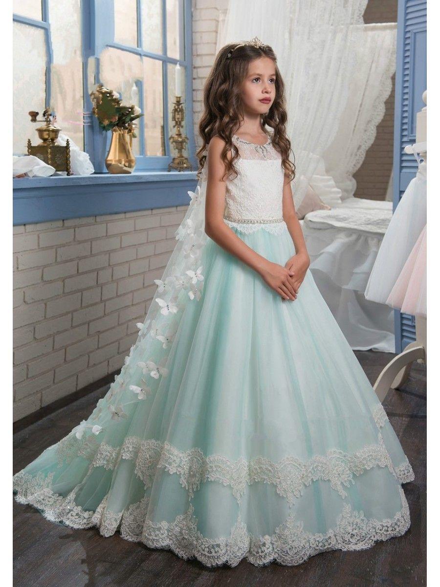 Lace tulle princess ball gown flower girl dresses scarlett